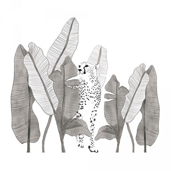 Lilipinso Wandsticker XL Leopard mit Blättern grau