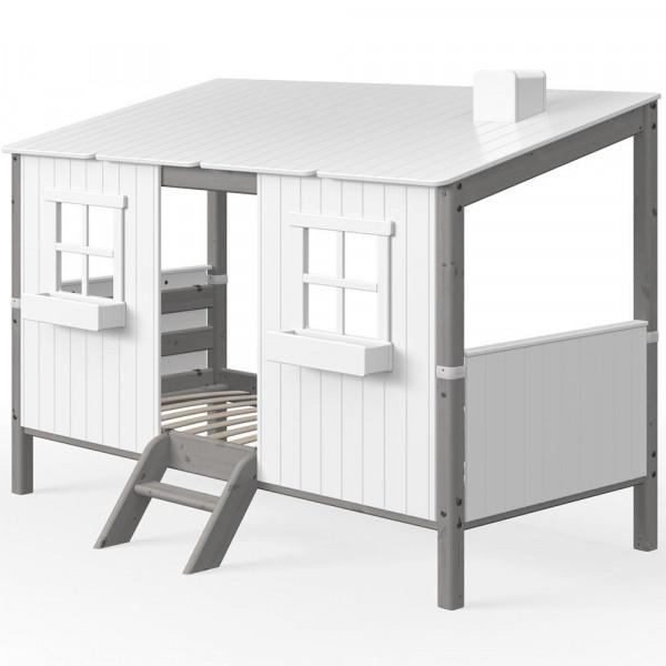 Flexa Einzelbett Haus weiss grau