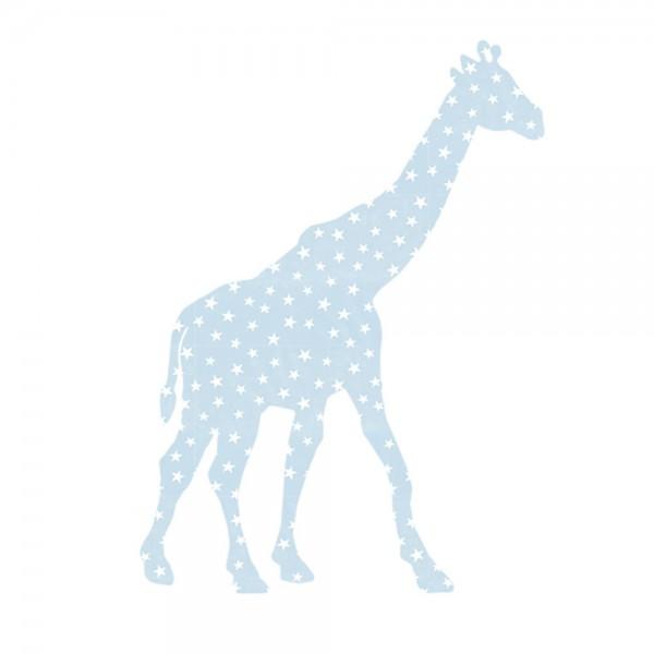 Inke Tapetentier Giraffe hellblau Sterne weiss