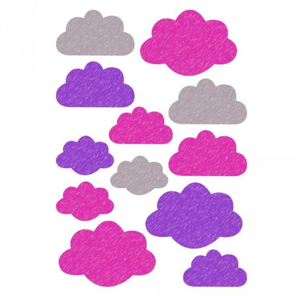 Buokids Wandsticker Wolken lila & pink