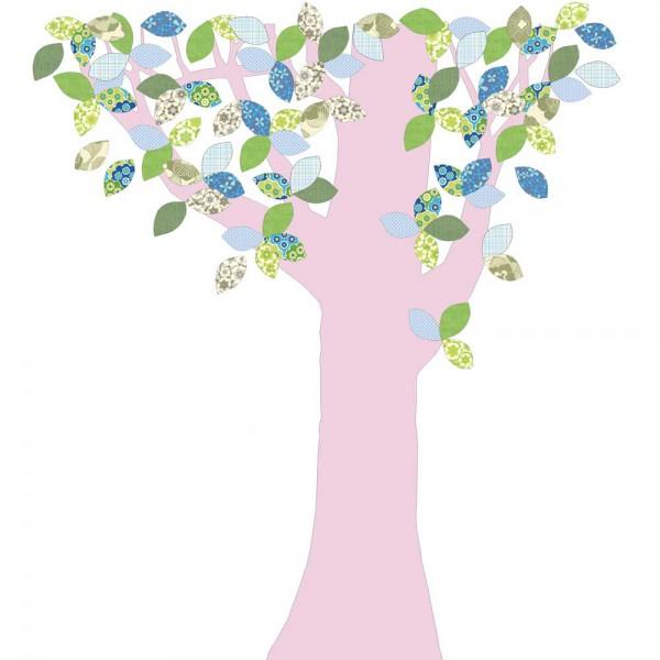Inke Tapetenbaum 1 Stamm rosa Blätter grün blau