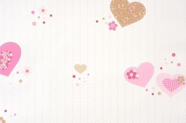 Caselio Girls only Tapete Herzen rosa pink gold