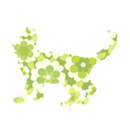 Inke Tapetentier Katze Blumen grün
