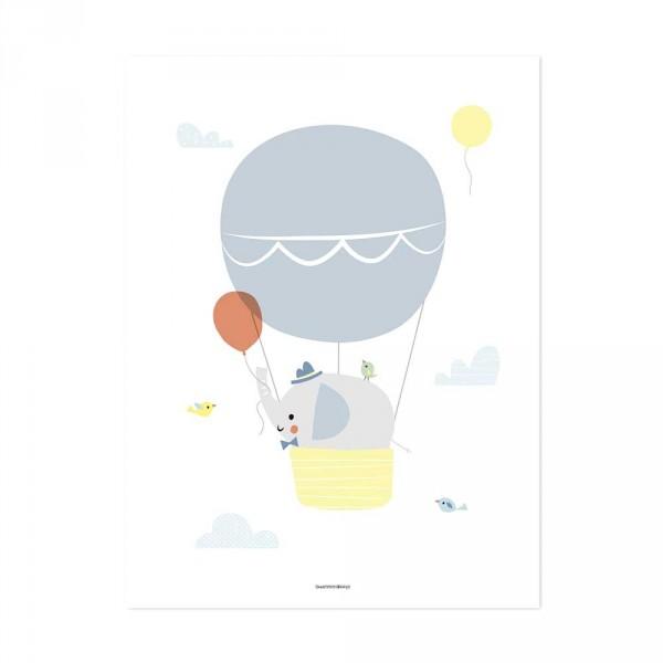 Lilipinso Poster Elefant im Ballon grau gelb