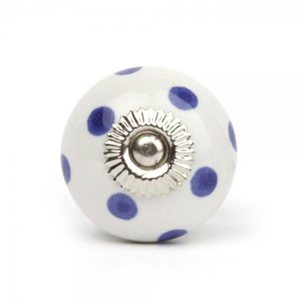Knaufmanufaktur Möbelknauf Keramik weiss Punkte blau