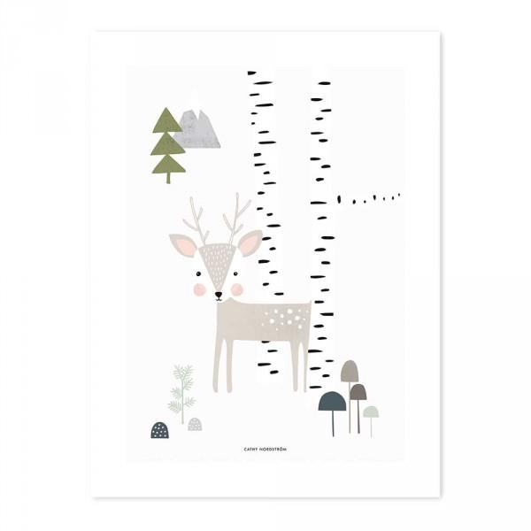 Lilipinso Poster Kleiner Hirsch im Birkenwäldchen grau
