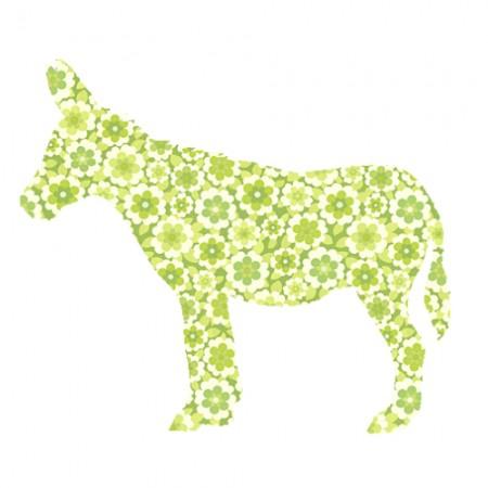 Inke Tapetentier Esel Blumen grün