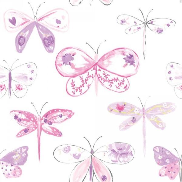 Caselio Ohlala Tapete Libellen rosa pink lila