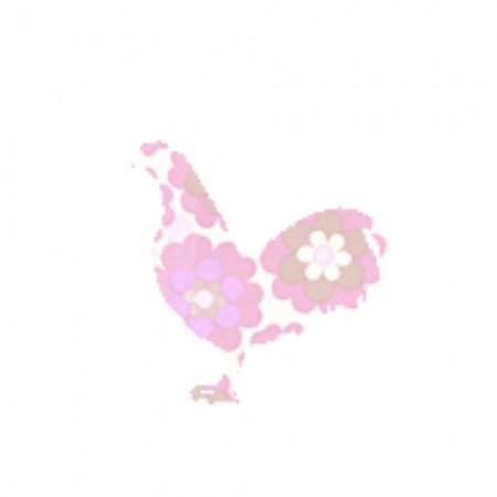 Inke Tapetentier Hahn Blumen rosa