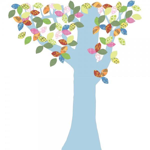 Inke Tapetenbaum 1 Stamm hellblau Blätter bunt