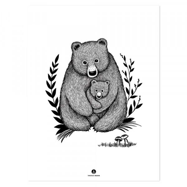 Lilipinso Poster Bärenliebe schwarz weiss
