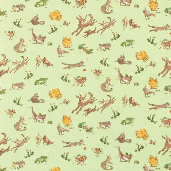 Osborne & Little Stoff Tiere grün