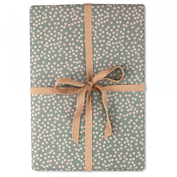 Ava & Yves Geschenkpapier Punkte blau grau rosa
