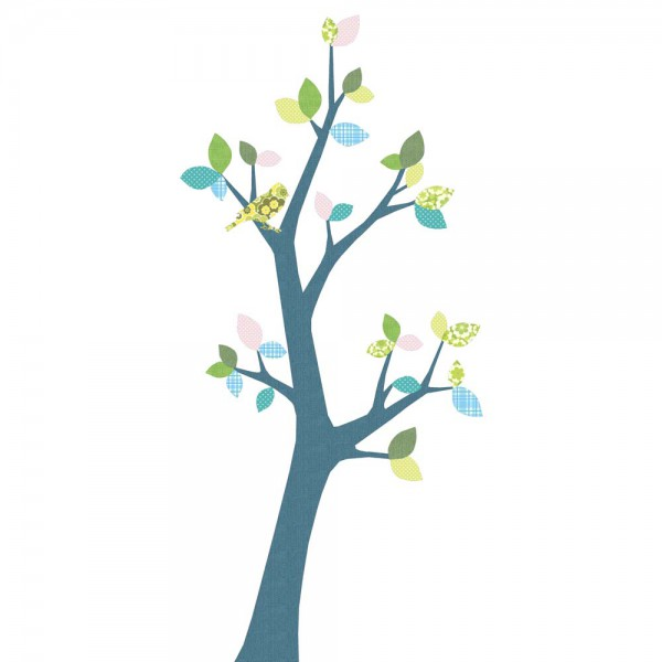 Inke Tapetenbaum 3 Stamm dunkelblau Blätter blau rosa grün