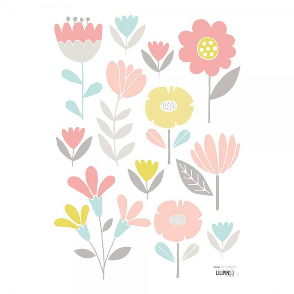 Lilipinso Wandsticker A3 zarte Blüten pastell