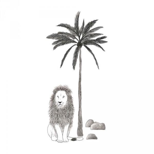 Lilipinso Wandsticker XL Löwe mit Palme grau