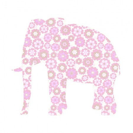Inke Tapetentier Elefant Blumen rosa