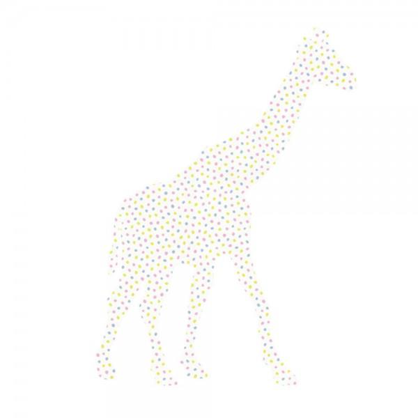 Inke Tapetentier Giraffe Tupfen rosa blau lime