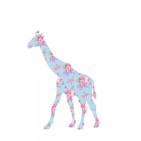 Inke Tapetentier Giraffe Rosen hellblau pink