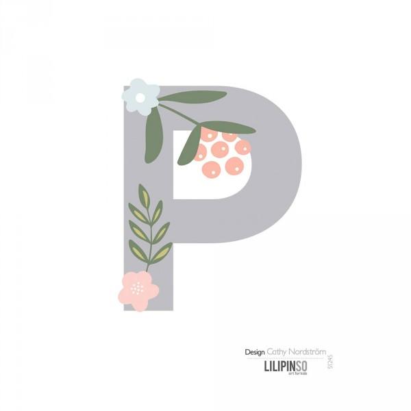 Lilipinso Sticker Buchstabe mit Blüten grau rosa pastell P