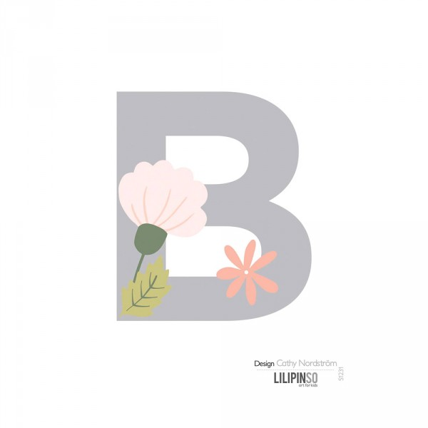 Lilipinso Sticker Buchstabe mit Blüten grau rosa pastell B