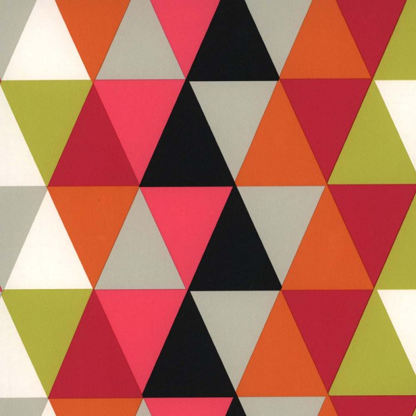 Harlequin all about me Tapete Dreiecke pink lime schwarz