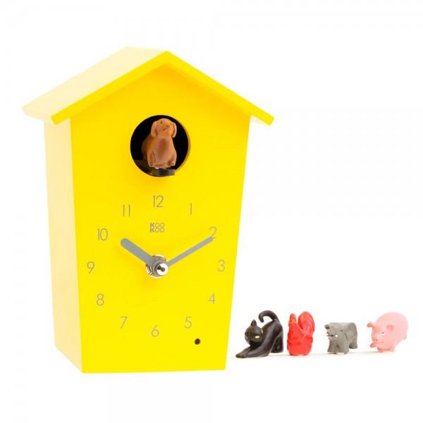 Kookoo Kinderuhr Animal House gelb