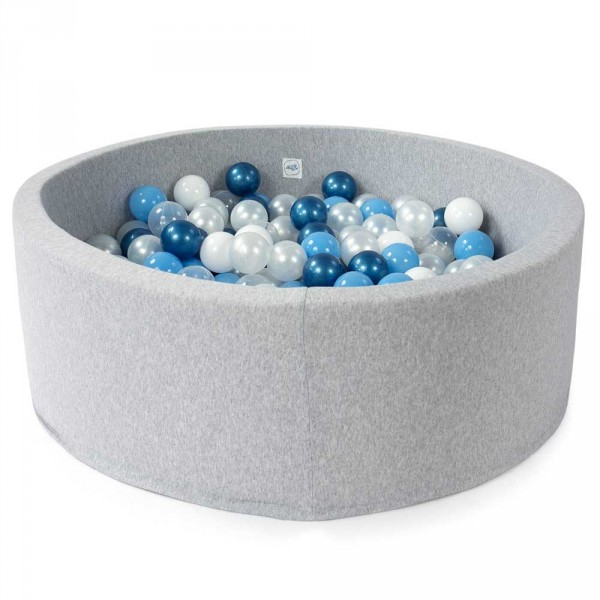 Minibe Bällebad hellgrau incl. 200 Bällen in Wunschfarbe