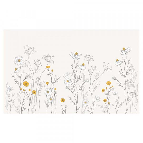 Lilipinso Vlies Wandbild Riesen Wildblumen mit Kamille grau senfgelb
