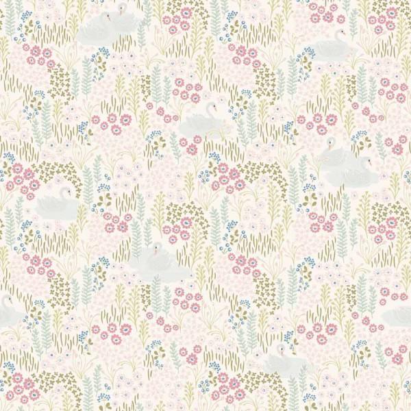 Eijffinger Wandbild Schwan & Blumenwiese grün rosa