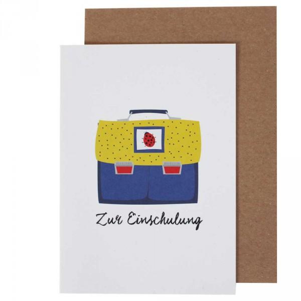 Ava & Yves Glückwunsch Karte zur Einschulung Ranzen blau