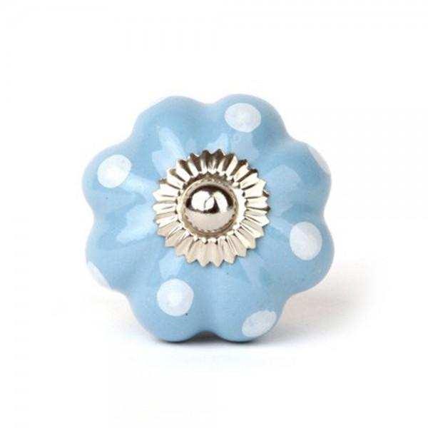 Knaufmanufaktur Möbelknopf Blume Keramik hellblau punkte weiss