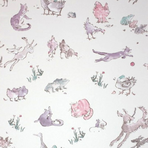 Osborne & Little Tapete Tiere creme flieder