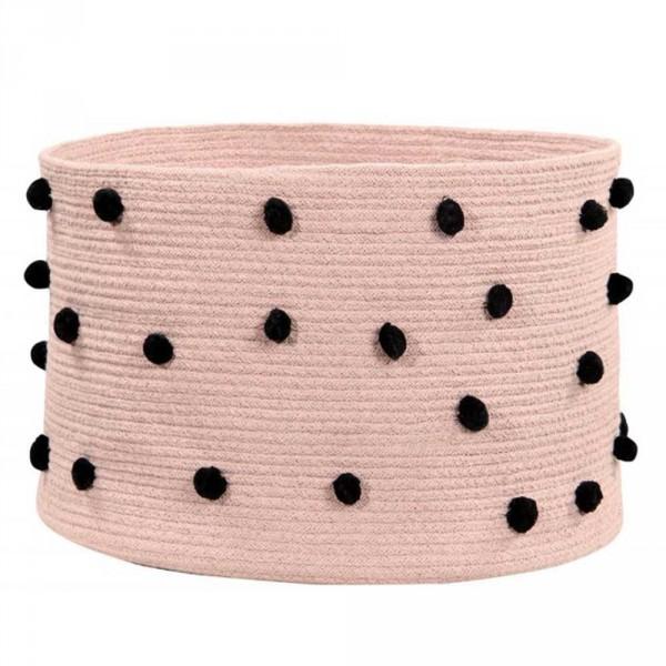 Lorena Canals Korb Pebbles Baumwolle Bommel rosa