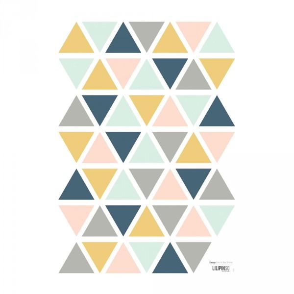 Lilipinso Wandsticker A3 Dreiecke ocker rosa mint grau