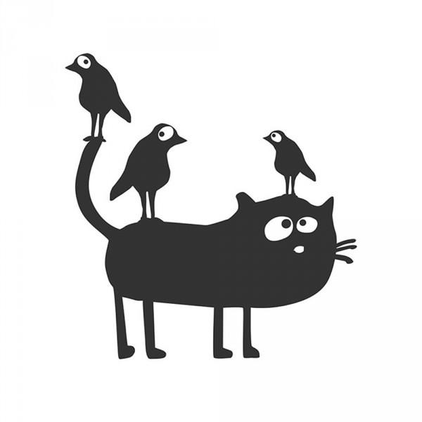 cats on appletrees Wandsticker Katze Friedegunde & Vögel