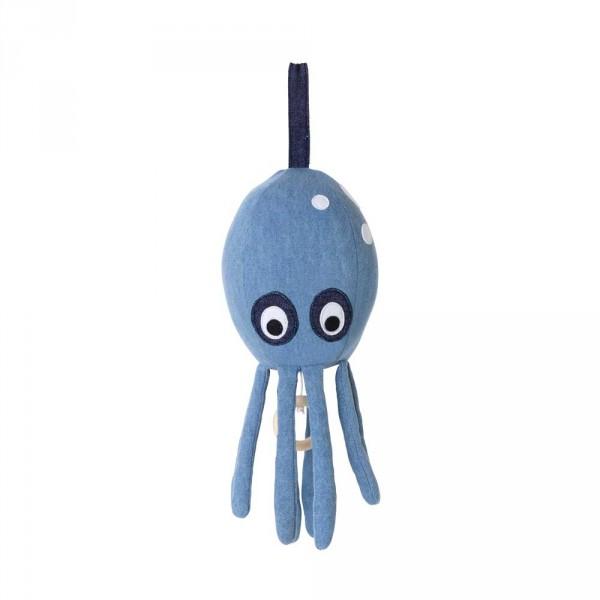 Ferm Living Baby-Spieluhr Octopus Denim hellblau