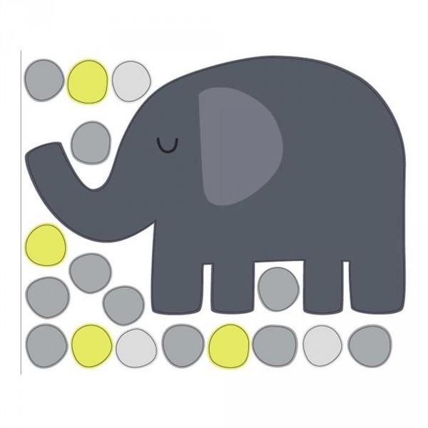 tresxics Wandsticker Elefant & Punkte gelb