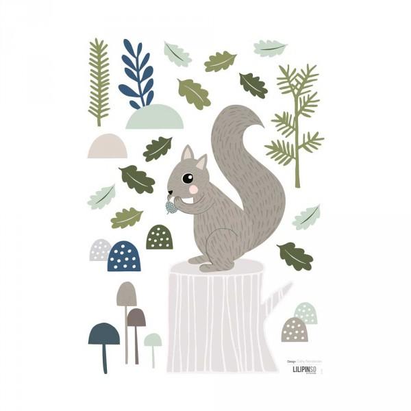 Lilipinso Wandsticker A3 Eichhörnchen mit Wald grau grün