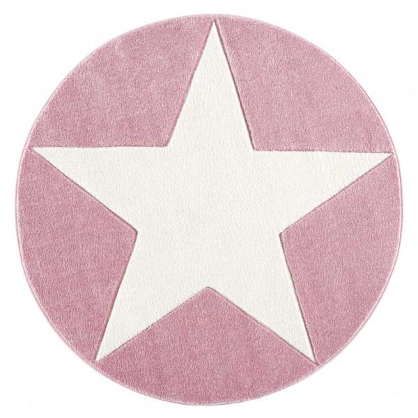 Livone Teppich Stern weiss auf rosa rund