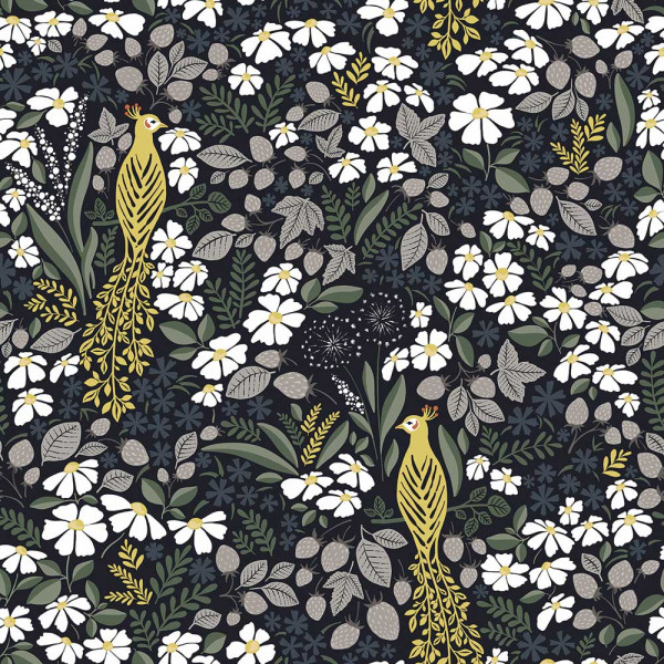 Lilipinso Vlies Tapete Pfauen im Blütenmeer senf grün tiefblau