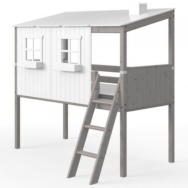 Flexa halbhohes Bett Haus weiss grau