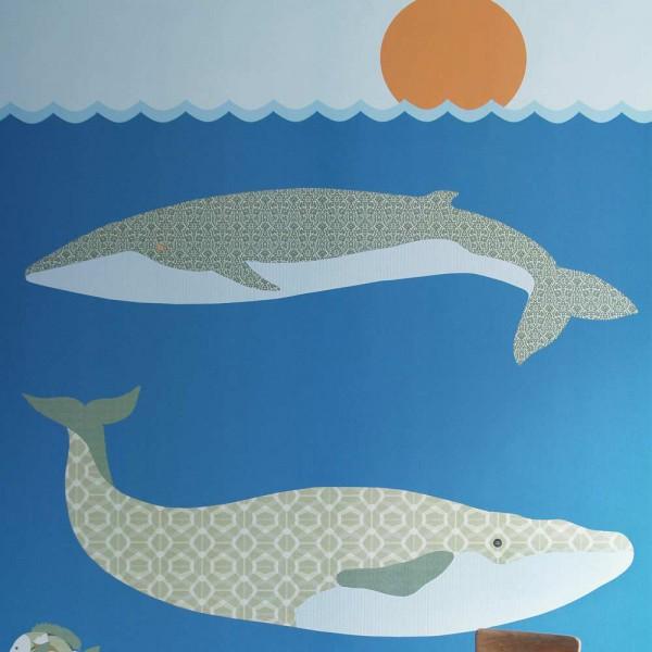 Inke Wandbild Wale dunkelblau
