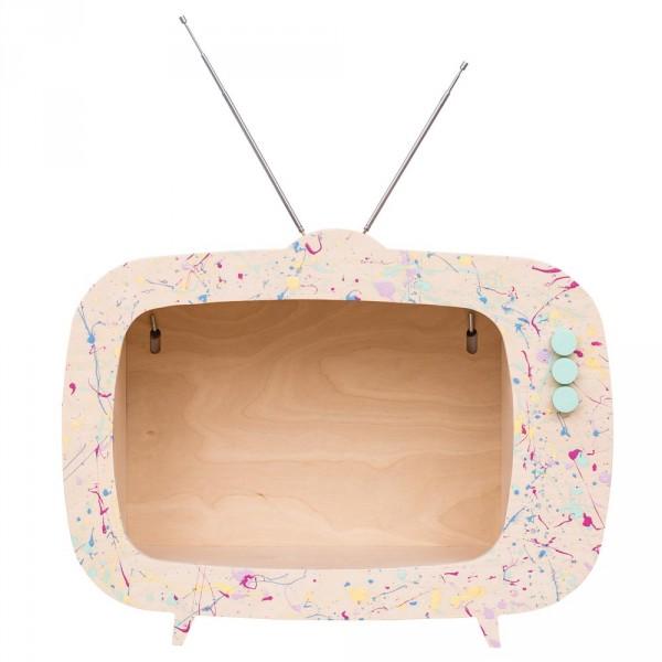 Up Warsaw Wandregal TV Fernseher Tiwi Farbkleckse