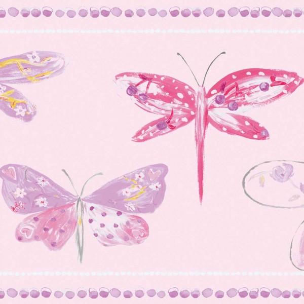 Caselio Ohlala Bordüre Libellen rosa pink lila