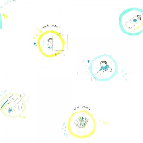 Casadeco Arc En Ciel Tapete kleiner Künstler hellblau lime türkis