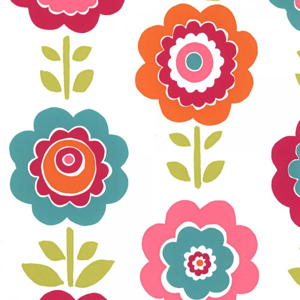 Harlequin all about me Tapete Blumen türkis pink