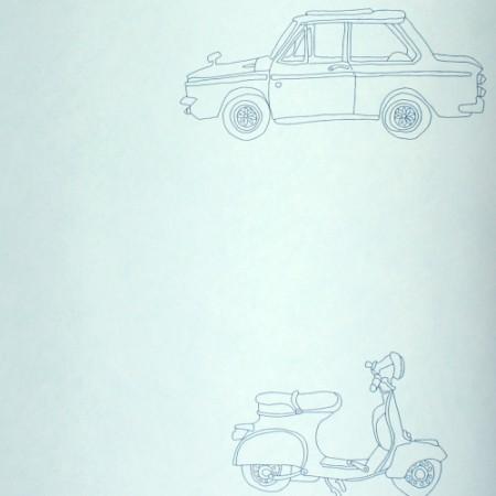 Harlequin Tapete Autos blau