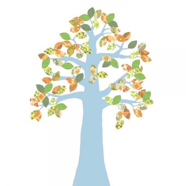 Inke Tapetenbaum 2 Stamm hellblau Blätter grün orange