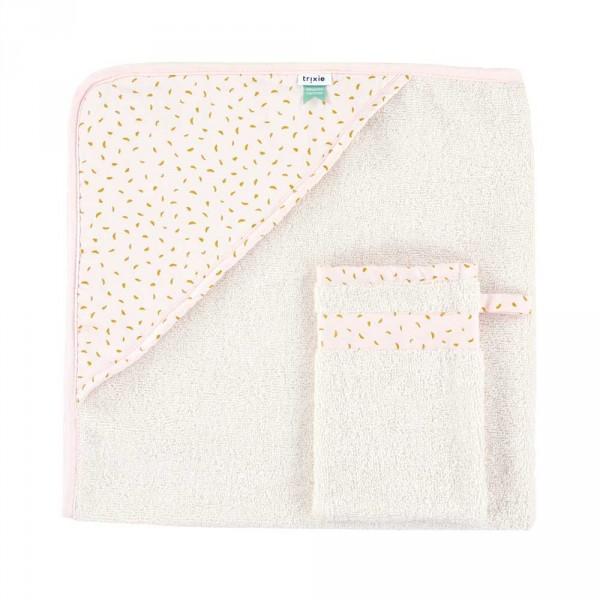 """Trixie Baby Kapuzenhandtuch mit Waschhandschuh """"Moonstone"""" gelb rosa"""